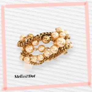 Stella & Dot Twisted Beaded and Gold Tone Bracelet